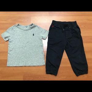 Bundle 2 Piece Polo Shirt and Blue Khaki Pants 18m